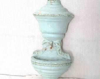 """Chalkware garden fountain. Molded solid plaster patio wall mounted fountain. Vintage Patio decor. 10.75"""" tall. Has scrapes, some chips."""