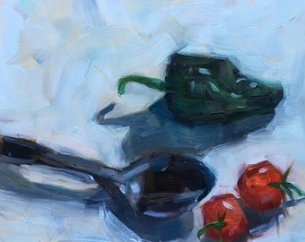 Original Oil Painting, Peppers, small art, square art, artist, still life