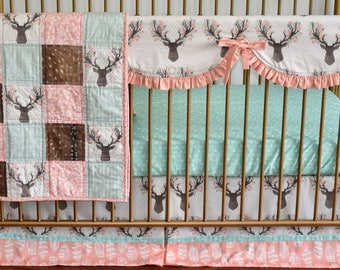 Woodland with deer skin crib bedding, Nursery,quilt, modern bedding, crib bedding, fawn, stag, deer, going stag, baby girl, modern nursery