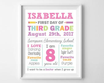 First Day of School Elementary Digital Poster Sign, 1st Day of School Digital Printable, Girl Back to School, Whiteboard Any Grade School
