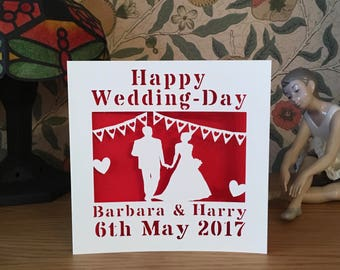 Papercut - Personalised Wedding Card - Bride and Groom Card - Bunting  - Wedding Invitation - Wedding Day - Save the Date Card