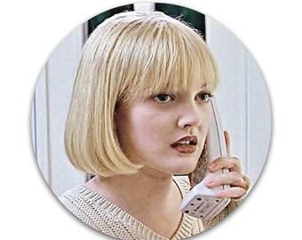 "Scream Casey Becker LARGE 2.25"" Pinback Button or Magnet 2 1/4"" 90s Horror Movie Slasher Ghostface Drew Barrymore"