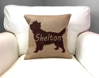Custom Dog Silhouette Pillow, Burlap Pillow, Fur Baby Pillow, Dog Pillow, Personalized, Dog Bed, Pet Pillow
