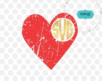 Grunge heart monogram svg, monogram, distressed svg, valentine day svg, love svg, heart svg, heart dxf, svg files for Cricut .    l72