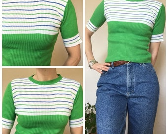 70s vintage green stripy top tee t dhirt uk 8/10