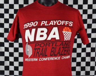 Vintage Portland TRAIL BLAZERS t-shirt / 1990 NBA Playoffs tee shirt / Western Conference / Clyde Drexler / Basketball / Fits like a Small