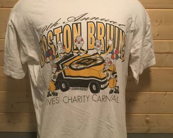 Vintage 1990's Boston Bruins Clown Zamboni T-Shirt Made in USA
