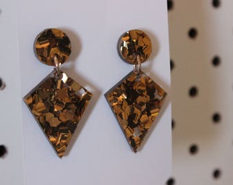Bronze chunky glitter dangles - acrylic drop earrings