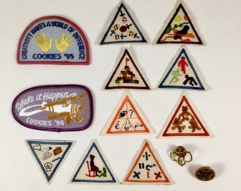 Girl Scout Brownie Merit Badges, 2 Girl Scout Pins, 11 Vintage Patches, Science, Math, Fitness, Cookie Sales, Child Care, Achievement Awards
