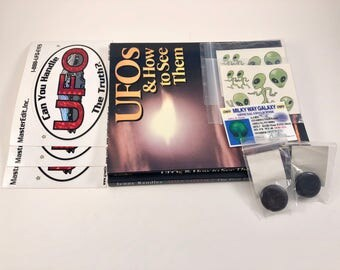 UFO Stickers, 3-D Alien Pins, Temporary Tattoos, Milky Way Galaxy Driver's License, Vintage UFO Books, Alien Contact, UFOs & How to See Them