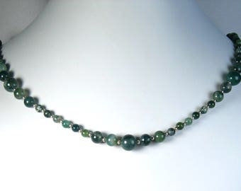 Moss Agate Necklace Silver 21""