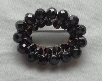 SALE - Vintage Wired Faceted Black Glass Bead Brooch/Pin
