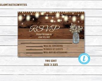 Rustic Wedding Invitation RSVP, Wedding Invitation RSVP, Digital file, Printable, Rustic RSVP, Rustic Rsvp Card, Wedding Rsvp, Rsvp, YouEdit