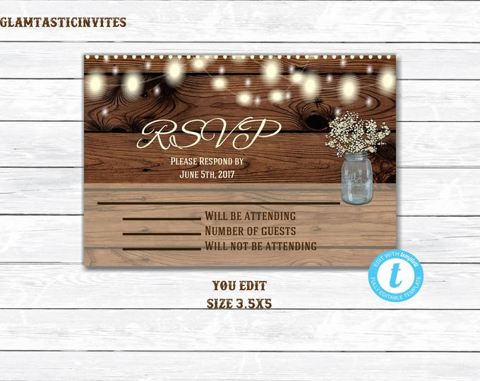 Rustic Wedding Invitation RSVP, Wedding Invitation RSVP, Digital file, Printable, Rustic RSVP, Rustic Rsvp Card, Wedding Rsvp, Rsvp, YouEdit