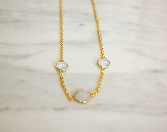 3 Stone Necklace - Moonstone - Gifts for her