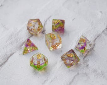Dice RPG Set of 7 'Spirit Of' Dragon Dice , Dungeons and Dragons, Pathfinder, Board Games, D20, Geek Gift, Clear Dice, Dice Collectors