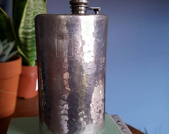 STAINLESS STEEL HIPFLASK: huge metal hip flask with honeycomb detail