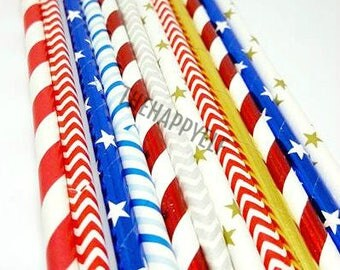 Patriotic straw variety. Patriotic straws. red white blue straws. Silver straws. 4th of july straws. 4th of july party decor. 4th of july
