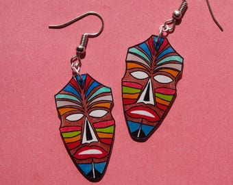 earrings, colorful African masks