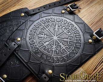 Leather Cuff Archery Arm Guards Bracers Armor Vegvisir Futhark Runes Vikings Compass Stave Nordic Amulet with Scale Carving Leather