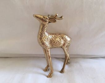 Vintage Solid Brass Deer Figurine