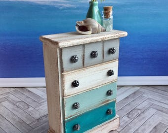 Dollhouse beach dresser, miniature bedroom furniture, chest of drawers