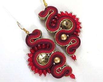 Soutache Earrings, long gold red Dangle Soutache Earrings, dark red Soutache Earrings, maroon Crystal Earrings, beauty gift, red earrings