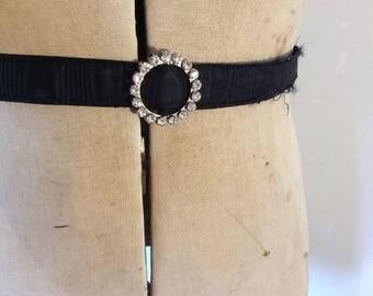60s Belt 70s Belt Vintage 1960s 1970s Black Crepe Dress Belt Thin With Diamanté Buckle