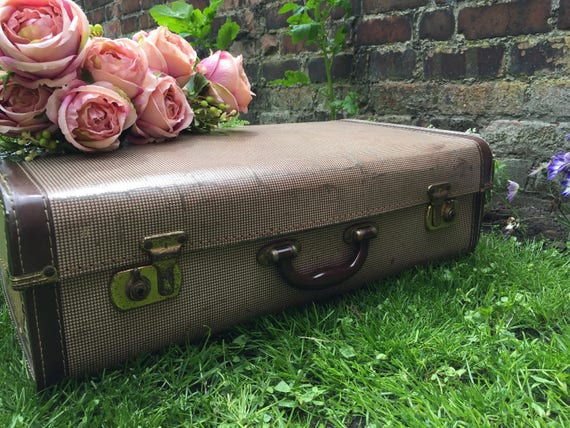 Cream and Brown Vintage Suitcase - Vintage Luggage | Brown Travel Case | Vintage Home Decor | Dogtooth Suitcase | Photography Prop