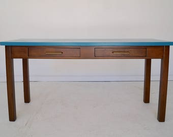 Amazing Mid-Century Modern Desk / Console in Teal & Walnut - Professionally Refinished! Unique!