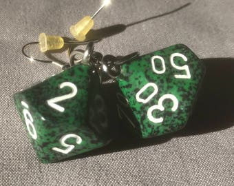 Green speckled D10 earrings