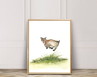 Jumping Goat in Field / Watercolor / Baby Goat / UNFRAMED 8 x 10 in Art Print