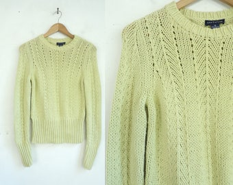 90s Eyelet Sweater Cotton & Acrylic Sweater Pale Green Chunky Cable Knit Sweater Pullover Crew Neck Sweater Ann Taylor Womens Jumper Small