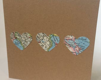 Vintage Maps Love Heard Card