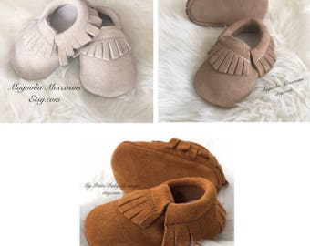 Genuine Suede Leather Baby Moccasins, Baby Boy Moccasins, 100% Leather Moccasins, Suede Moccasins, Light Brown Moccasins, Camel Moccasins,