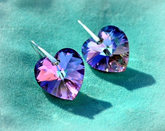 Swarovski Crystal Earrings Vitrail Light Purple Heart Shape Drop Earrings Gift for her Silver hooks
