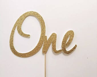 1st Birthday Cake Topper Gold Glitter