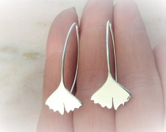 Ginkgo biloba-Silver 925-nature-vegetal-printemps-ete-zen-japonais-epure-japonaise-asie Sterling leaf earrings