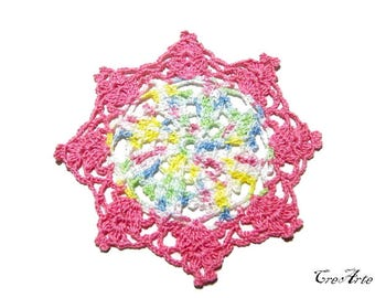 Colorful crochet coaster, Handmade coaster, Small doiliy, Sottobicchieri colorati