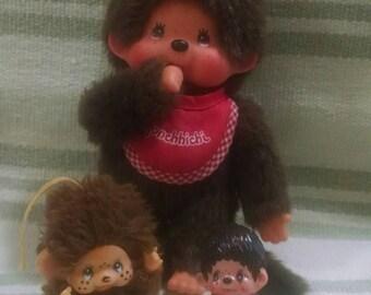 Adorable Monchhichi Trio of Plush And PVC Toys