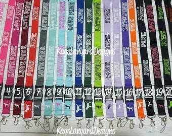 Lanyard Inspired By Pink -  22 Beautiful Colors To Choose From - 3 Different Text Styles