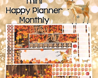 October Fall Mini Happy Planner MONTHLY view spread stickers - MAMBI leaves autumn rustic