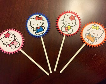 Hello Kitty Cupcake Toppers, Hello Kitty Birthday