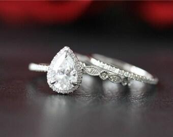 Forever One Moissanite Engagement Ring & Wedding Band Set 14K White Gold Forever One Moissanite Ring Set Anniversary Ring Diamond Halo Ring