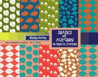 Shades of Autumn Digital Paper, Green Leaves Paper, Acorns Digital Paper, Autumn Paper Pack, Thanksgiving Paper, Fall Paper, Fall Paper Pack