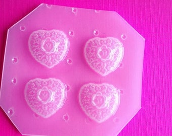 SUMMER SALE 4pc Small Floral Heart Cabochon Flexible Plastic Mold For Resin Clay and More