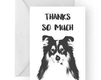 Shetland Sheepdog thank you card- Shetland Sheepdog greeting card, Shetland Sheepdog thank you card, Shetland Sheepdog gift, Shetland card