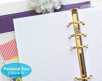 PRINTED Personal size grid inserts - Tiny grid planner insert - 1/8 inch graph planner pages - Graph paper planner refill - P04