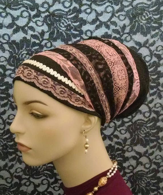 Exquisite pink/black with leopard print lace, sinar tichel, tichels, chemo scarves, head scarves, hair snoods