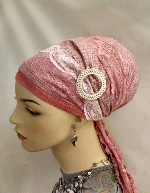 Stunning pink lace sinar tichel, tichels, head scarf, chemo scarves, hair snood